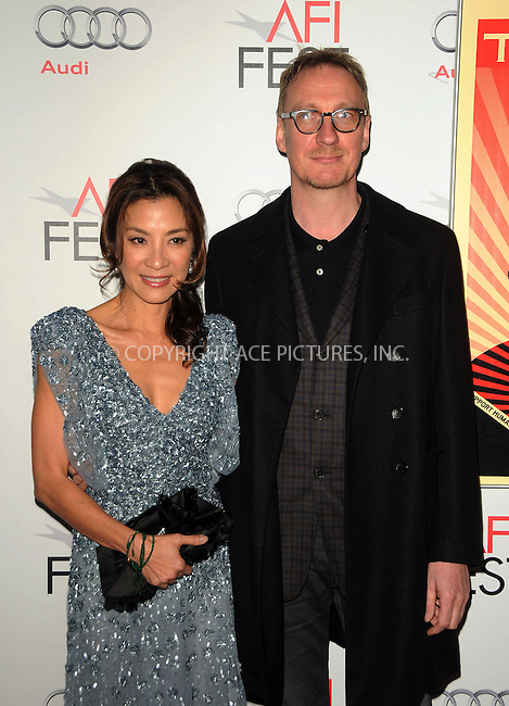 """WWW.ACEPIXS.COM . . . . .  ....November 4 2011, LA....Actress Michelle Yeoh (L) and actor David Thewlis at the """"The Lady"""" Centerpiece Gala at Graumans Theatre on November 4 2011 in LA....Please byline: PETER WEST - ACE PICTURES.... *** ***..Ace Pictures, Inc:  ..Philip Vaughan (212) 243-8787 or (646) 679 0430..e-mail: info@acepixs.com..web: http://www.acepixs.com"""