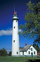 tallest lighthouse on the Great Lakes in Michigan and one of several along Lake Huron shore housing a museum, lighthouses. Presque Isle Michigan USA.