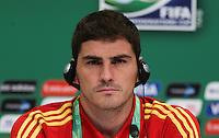 RIO DE JANEIRO, RJ, 29 DE JUNHO 2013 - COLETIVA ESPANHA - O goleiro Iker Casillas durante coletiva da seleção espanhola antes de treino no Estádio do Maracanã, na zona norte do Rio de Janeiro, neste sábado. Espanha e Brasil se enfrentam no estádio amanhã (30), pela final da Copa das Confederações. FOTO: VANESSA CARVALHO - BRAZIL PHOTO PRESS.