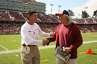 14 October 2006: Walt Harris with a faculty member during Stanford's 20-7 loss to Arizona during Homecoming at Stanford Stadium in Stanford, CA.