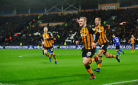 Hull City's Jarrod Bowen celebrates scoring his side's second goal from the penalty spot with team-mate Evandro Goebel<br /> <br /> Photographer Chris Vaughan/CameraSport<br /> <br /> The EFL Sky Bet Championship - Hull City v Sheffield Wednesday - Saturday 12th January 2019 - KCOM Stadium - Hull<br /> <br /> World Copyright &copy; 2019 CameraSport. All rights reserved. 43 Linden Ave. Countesthorpe. Leicester. England. LE8 5PG - Tel: +44 (0) 116 277 4147 - admin@camerasport.com - www.camerasport.com