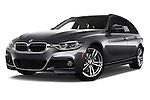 Stock pictures of low aggressive front three quarter view of 2018 BMW 3-Series 330i-Sports-Wagon 5 Door Wagon Low Aggressive