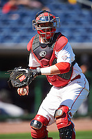 Ball State Cardinals catcher Erek Bolton (11) during practice before a game against the Louisville Cardinals on February 19, 2017 at Spectrum Field in Clearwater, Florida.  Louisville defeated Ball State 10-4.  (Mike Janes/Four Seam Images)