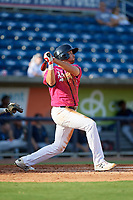 Pensacola Blue Wahoos Alex Kirilloff (19) at bat during a Southern League game against the Mobile BayBears on July 25, 2019 at Hank Aaron Stadium in Pensacola, Florida.  Pensacola defeated Mobile 2-1 in the first game of a doubleheader.  (Mike Janes/Four Seam Images)