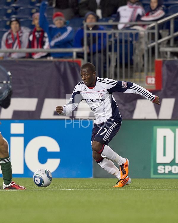 New England Revolution forward Sainey Nyassi (17) dribbles. In a Major League Soccer (MLS) match, the New England Revolution tied the Portland Timbers, 1-1, at Gillette Stadium on April 2, 2011.