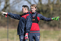 (L-R) Tony Roberts, goalkeeping coach and Lewis Thomas in action during the Swansea City Training at The Fairwood Training Ground, Swansea, Wales, UK. Tuesday 13 March 2018