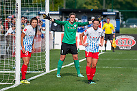 Kansas City, MO - Saturday September 9, 2017: Stephanie McCaffrey, Alyssa Naeher, Taylor Comeau during a regular season National Women's Soccer League (NWSL) match between FC Kansas City and the Chicago Red Stars at Children's Mercy Victory Field.