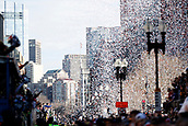 5th February 2019, Boston, Massachusetts, USA;  Confetti fills the air during the New England Patriots Super Bowl Victory Parade on February 5th 2019, through the streets of Boston, Massachusetts.