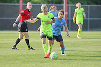 Piscataway, NJ - Sunday June 19, 2016: Jess Fishlock, Raquel Rodriguez during a regular season National Women's Soccer League (NWSL) match between Sky Blue FC and Seattle Reign FC at Yurcak Field.