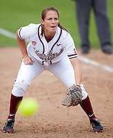 STANFORD, CA - April 2, 2011: Melisa Koutz of Stanford softball during Stanford's game against Arizona at Smith Family Stadium. Stanford lost 6-1.