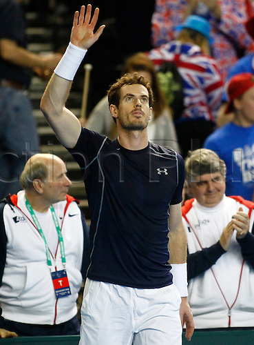 04.03.2016. Barclaycard Arena, Birmingham, England. Davis Cup Tennis World Group First Round. Great Britain versus Japan. Andy Murray of Great Britain celebrates match point at the end of his singles match against Japan's Taro Daniel on day 1 of the tie. Murray won in straight sets 6-1, 6-3, 6-1.