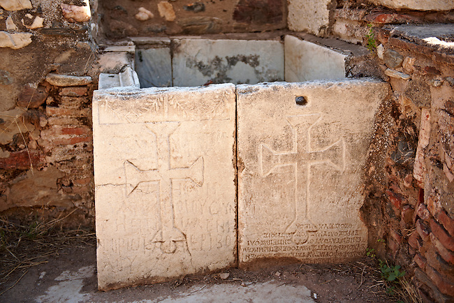 Early Christian Byzantine Basin with Crosses in the Byzantine shop area next to the gymnasium of Sardis.  Sardis archaeological site, Hermus valley, Turkey. Part of an on going  Harvard Art Museum excavation project.