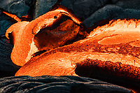 Textures emerge as lava starts to slightly cool on the coastal plains of Pulama Pali (part of Holei Pali), Puna district, Hawai'i Island, December 2017.