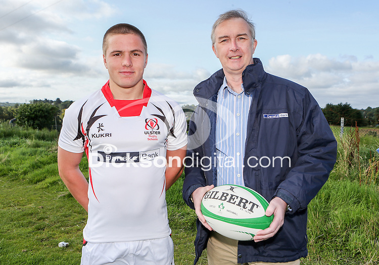 Ulster Schools U18 | Saturday 5th September 2015<br /> <br /> Ulster Schools U18 Squad 2015-2016<br /> Bangor Grammar School player Matthew Agnew with Danske Bank representative Mark Beattie at a recent training session at Newforge Country Club in Belfast. Photo : John Dickson - DICKSONDIGITAL