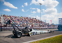 Sep 29, 2019; Madison, IL, USA; NHRA top fuel driver Mike Salinas during the Midwest Nationals at World Wide Technology Raceway. Mandatory Credit: Mark J. Rebilas-USA TODAY Sports
