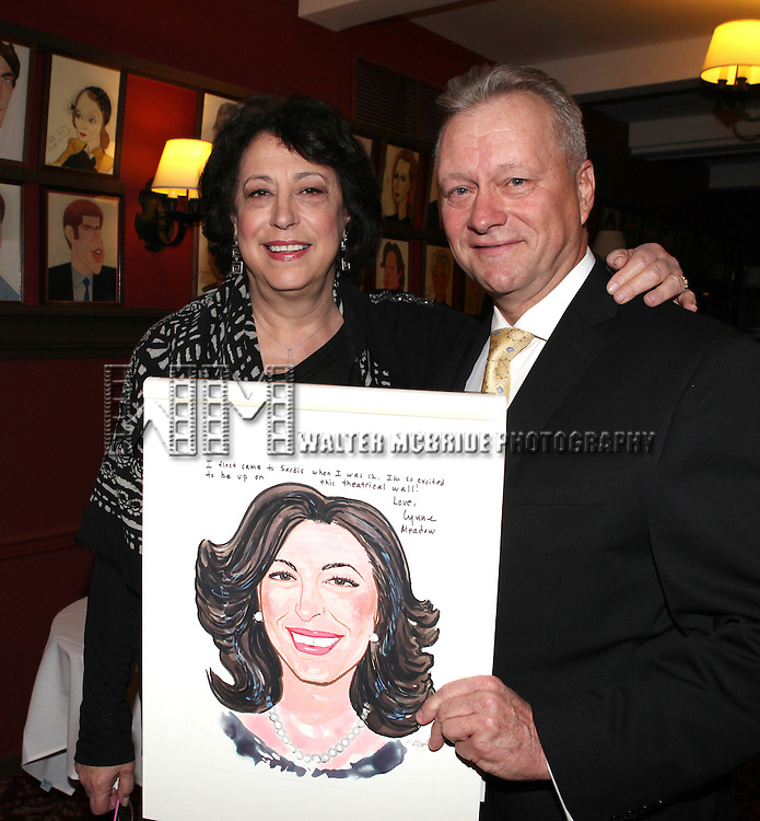 Max Klimavicius with Lynne Meadow, Manhattan Theatre Club's Artistic Director, receiving a Sardi's Caricature in.honor of her 40th anniversary with MTC on 10/24/2012