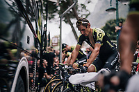 Roman Kreuziger (CZE/Mitchelton Scott) warming up pre-race to be ready for a 'from the bat' battle...<br /> <br /> stage 17: Riva del Garda - Iseo (155 km)<br /> 101th Giro d'Italia 2018