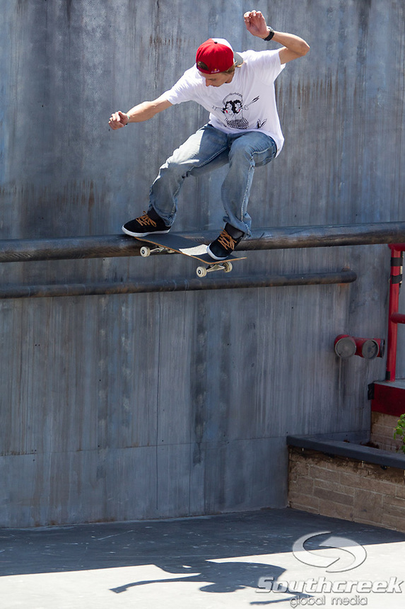 Ryan Decenzo competes in the Skateboard Street Men's Final at Event Deck L.A. Live in Los Angeles, California. Decenzo placed 5th in the event.