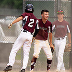 WATERBURY,  CT-072519JS08--Overlook's Zachary Strout (2) celebrates with teammates after coming in to score in their 9-1 win over the Texas Desperados in Mickey Mantle World Series action Thursday at Municipal Stadium in Waterbury. <br />  Jim Shannon Republican-American