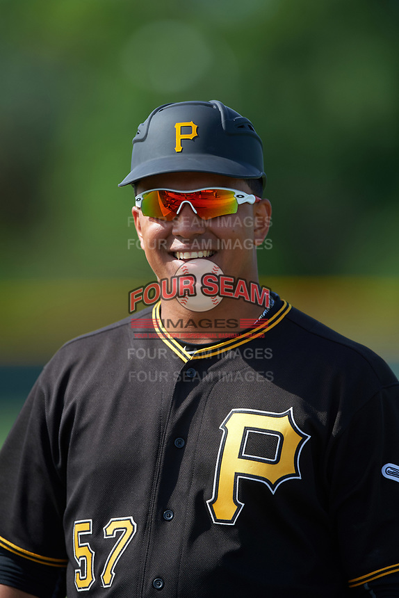 Pittsburgh Pirates Jose Osuna (57) during a minor league Spring Training intrasquad game on April 3, 2016 at Pirate City in Bradenton, Florida.  (Mike Janes/Four Seam Images)