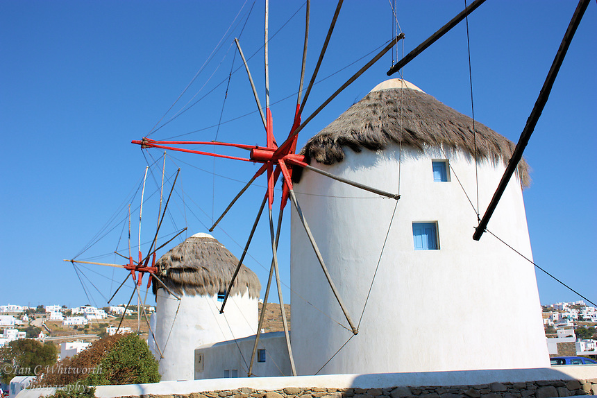 Windmills on the island of Mykonos in Greece.
