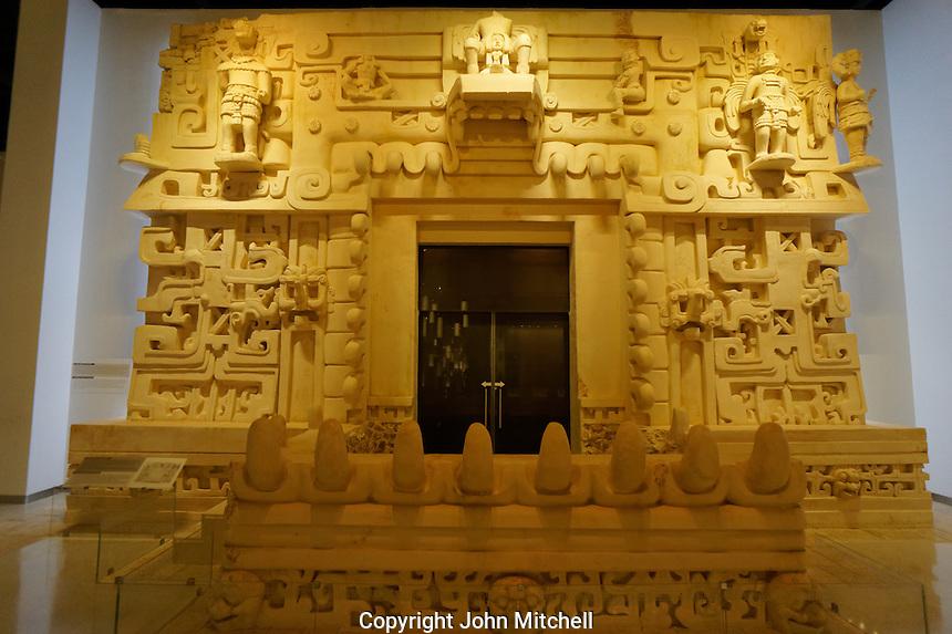 Replica of a royal Mayan tomb at Ek Balam, Gran Museo del Mundo Maya museum in Merida, Yucatan, Mexico  .