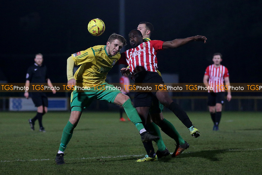 Tobi Joseph of Hornchurch and Remi Sutton of Thurrock during Thurrock vs AFC Hornchurch, Ryman League Division 1 North Football at Ship Lane on 3rd January 2017