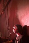 young man at a satanic rock gig Brno