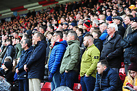 Lincoln City fans watch their team in action<br /> <br /> Photographer Andrew Vaughan/CameraSport<br /> <br /> The EFL Sky Bet League Two - Lincoln City v Mansfield Town - Saturday 24th November 2018 - Sincil Bank - Lincoln<br /> <br /> World Copyright &copy; 2018 CameraSport. All rights reserved. 43 Linden Ave. Countesthorpe. Leicester. England. LE8 5PG - Tel: +44 (0) 116 277 4147 - admin@camerasport.com - www.camerasport.com
