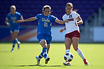 ORLANDO, FL - DECEMBER 03: Jessie Fleming #21 of UCLA and Jordan DiBiasi #11 of Stanford University battle for the ball during the Division I Women's Soccer Championship held at Orlando City SC Stadium on December 3, 2017 in Orlando, Florida. Stanford defeated UCLA 3-2 for the national title. (Photo by Jamie Schwaberow/NCAA Photos via Getty Images)