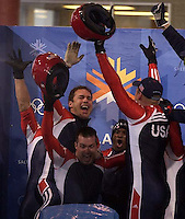 Four-Man Bobsled competition, Saturday afternoon at the Utah Olympic Park, 2002 Olympic Winter Games.; 02.23.2002, 5:51:06 PM<br />