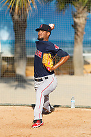 Salem Red Sox pitcher Roniel Raudes (17) in the bullpen before a game against the Myrtle Beach Pelicans at Ticketreturn.com Field at Pelicans Ballpark on June 8, 2018 in Myrtle Beach, South Carolina. Myrtle Beach defeated Salem 5-4. (Robert Gurganus/Four Seam Images)