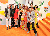 LOS ANGELES, CA - MARCH 31: Cast of Hollywood Heights arrives at the 2012 Nickelodeon Kids' Choice Awards at Galen Center on March 31, 2012 in Los Angeles, California.