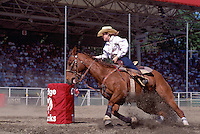 Cowgirl riding Horse in Ladies Barrel Racing Event at Cloverdale Rodeo, Surrey, BC, British Columbia, Canada