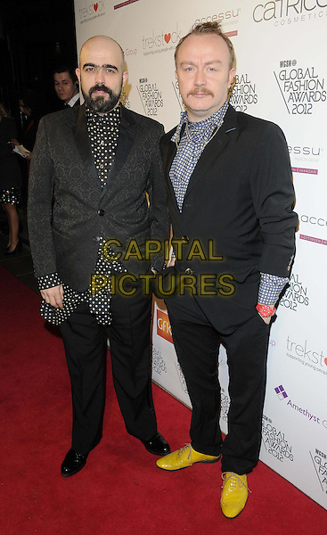 Bruno Basso & Chris Brooke.The WGSN Global Fashion Awards, Savoy Hotel, The Strand, London, England..November 5th, 2012.full length black grey gray white blue yellow polka dot shirt jacket shoes beard facial hair .CAP/CAN.©Can Nguyen/Capital Pictures.