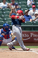 Memphis Redbirds catcher Bryan Anderson #16 swings during the Pacific Coast League baseball game against the Round Rock Express on May 6, 2012 at The Dell Diamond in Round Rock, Texas. The Express defeated the Redbirds 5-1. (Andrew Woolley/Four Seam Images)