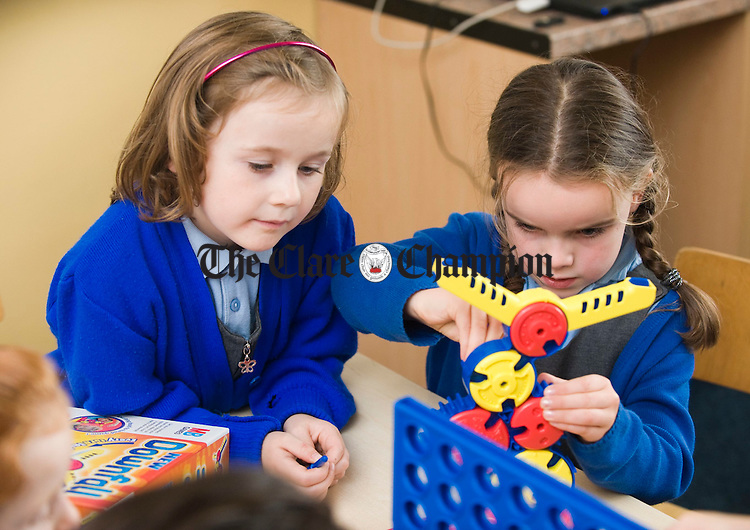 Sarah Looney and Niamh Lynch playing at Miltown Malbay National School. Photograph by John Kelly.