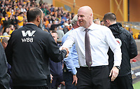 Burnley Manager Sean Dyche and Wolves head coach Nuno Espirito Santo<br /> <br /> Photographer Rachel Holborn/CameraSport<br /> <br /> The Premier League - Wolverhampton Wanderers v Burnley - Sunday 16th September 2018 - Molineux - Wolverhampton<br /> <br /> World Copyright &copy; 2018 CameraSport. All rights reserved. 43 Linden Ave. Countesthorpe. Leicester. England. LE8 5PG - Tel: +44 (0) 116 277 4147 - admin@camerasport.com - www.camerasport.com