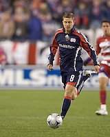 New England Revolution midfielder Chris Tierney (8). The New England Revolution defeated FC Dallas, 2-1, at Gillette Stadium on April 4, 2009. Photo by Andrew Katsampes /isiphotos.com