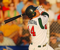 Jordan Comadena (2R, 1H, 3RBI) homers against the Battle Creek Bombers' Thursday, 7/19/07, as the Madison Mallards win 14-10