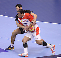 15.01.2013 Granollers, Spain. IHF men's world championship, prelimanary round. Picture show Issam Tej    in action during game between Tunisia vs Montenegro at Palau d'esports de Granollers