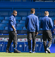 Ademola Lookman (left) of Everton looks over the pitch with teammates ahead of the Premier League match between Chelsea and Everton at Stamford Bridge, London, England on 27 August 2017. Photo by Andy Rowland.