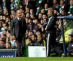 Josep Guardiola manager of Manchester City is told to keep away by the fourth official during the Champions League Group C match at the Celtic Park Stadium, Glasgow. Picture date: September 28th, 2016. Pic Simon Bellis/Sportimage