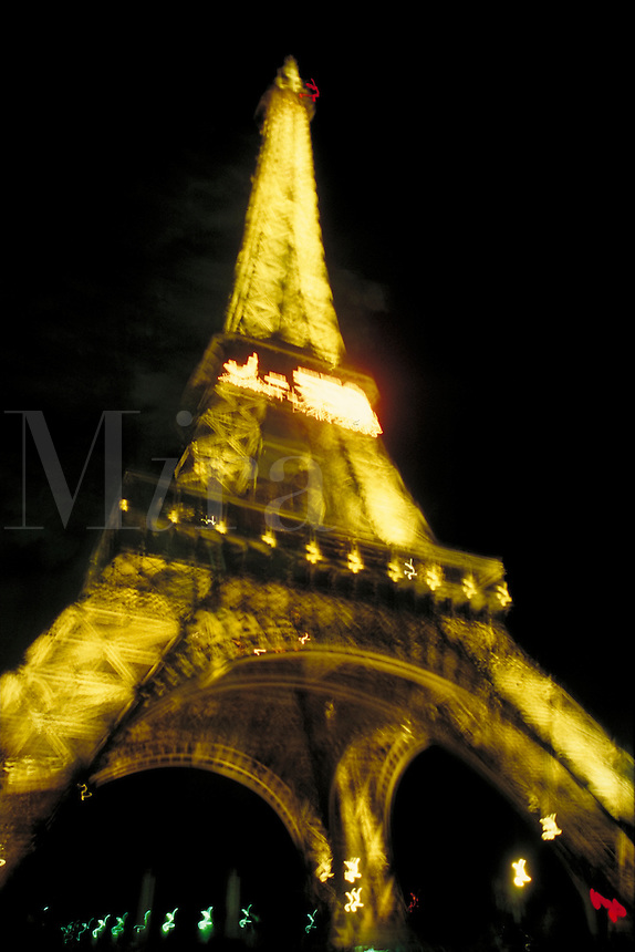 The Eiffel Tower at night. Paris, France.