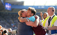 West Ham United's Mark Noble celebrates scoring his side's second goal with a fan<br /> <br /> Photographer Rob Newell/CameraSport<br /> <br /> The Premier League - Leicester City v West Ham United - Saturday 5th May 2018 - King Power Stadium - Leicester<br /> <br /> World Copyright &copy; 2018 CameraSport. All rights reserved. 43 Linden Ave. Countesthorpe. Leicester. England. LE8 5PG - Tel: +44 (0) 116 277 4147 - admin@camerasport.com - www.camerasport.com