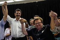 SAO PAULO, SP, 04 AGOSTO 2012 - ELEICOES SP - FERNANDO HADDAD - Candidato à prefeitura de São Paulo pelo PT Fernando Haddad e ax prefeita e atual Deputada Federal Luiza Erundina durante encontro no Sindicato dos Químicos na Liberdade em São Paulo (SP), na tarde deste sábado, 04. FOTO: VANESSA CARVALHO / BRAZIL PHOTO PRESS)