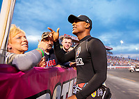Aug 30, 2019; Clermont, IN, USA; NHRA top fuel driver Antron Brown during qualifying for the US Nationals at Lucas Oil Raceway. Mandatory Credit: Mark J. Rebilas-USA TODAY Sports