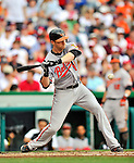 19 June 2011: Baltimore Orioles' outfielder Nolan Reimold in action against the Washington Nationals on Father's Day at Nationals Park in Washington, District of Columbia. The Orioles defeated the Nationals 7-4 in inter-league play, ending Washington's 8-game winning streak. Mandatory Credit: Ed Wolfstein Photo