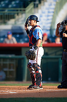Florida Fire Frogs catcher Lucas Herbert (34) during a game against the St. Lucie Mets on April 19, 2018 at Osceola County Stadium in Kissimmee, Florida.  St. Lucie defeated Florida 3-2.  (Mike Janes/Four Seam Images)
