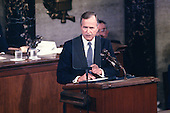 United States President George H.W. Bush speaks to a Joint Session of the U.S. Congress on the situation with Iraq and the Persian Gulf and on the federal deficit in the U.S. Capitol in Washington, D.C. on September 11, 1990.<br /> Credit: Ron Sachs / CNP